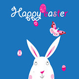 Easter bright card with rabbit