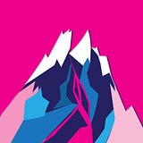Graphic bright colored vector mountain