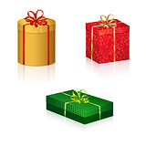 colored boxes with gifts for the holiday