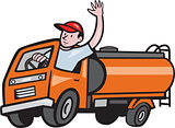 4 Wheeler Tanker Truck Driver Waving Cartoon