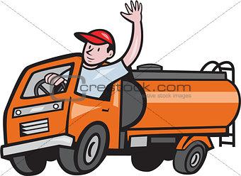 4 Wheeler Tanker Truck Driver Waving Cartoon