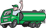 6 Wheeler Tanker Truck Driver Waving Cartoon