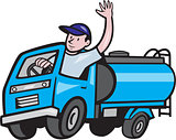 Baby Tanker Truck Driver Waving Cartoon
