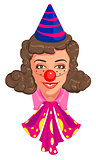 Head Woman mom in clown attire