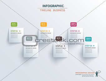 Business infographics template 6 steps with square. Can be used