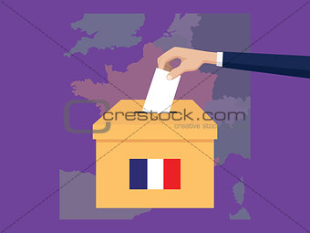 france election vote concept illustration with people voter hand gives votes insert to boxes election with long shadow flat style