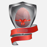 Easter metallic egg on metal shield and banner