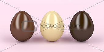 Three chocolates eggs