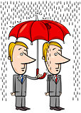 businessmen under umbrella cartoon
