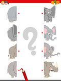 match the halves of animals