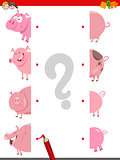 match the halves of pigs