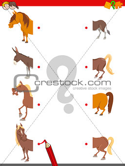 match the halves of horses