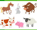 cute farm animals cartoon set