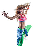 woman zumba dancers dancing fitness exercising excercises isolat