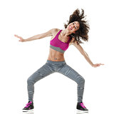 woman zumba dancer dancing fitness exercises isolated