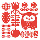 Finnish inspired folk art red pattern - Scandinavian, Nordic style