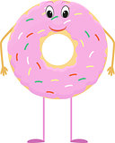 Donut cartoon character with pink icing