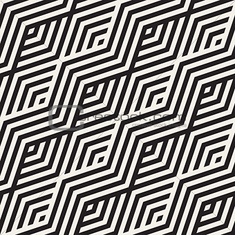 Abstract ZigZag Parallel Stripes. Vector Seamless Pattern. Repeating Monochrome Background