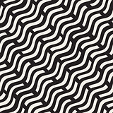 Hand Drawn Scattered Wavy Lines Monochrome Texture. Vector Seamless Black and White Pattern