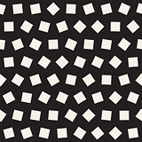 Geometric Scattered Shapes. Vector Seamless Black and White Pattern