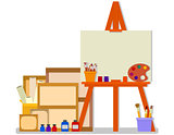 workshop room with easel and tools for art design painting