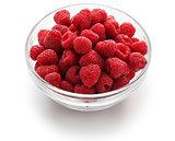 raspberries in glass bowl