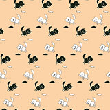Childrens cartoon pattern with cats and mice