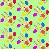 Happy Easter Pattern with Rabbits and Eggs