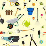 Garden Tools, Instruments Flat Icon Collection Set. Shovel, buck