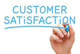 Customer Satisfaction Handwritten With Blue Marker