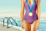 part of swimmer with gold medal