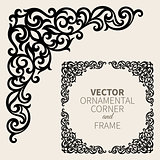 Vector ornamental corner frame