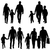 Set silhouette of happy family on a white background. Vector illustration.