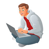 Young business man with laptop sitting on floor. Cartoon vector illustration isolated on white background.