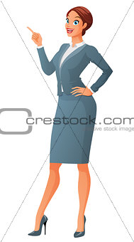 Smiling business woman with finger point up. Cartoon vector illustration isolated on white background.