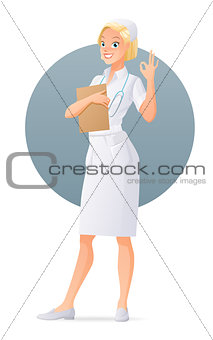 Cute young nurse showing ok sign gesture. Cartoon vector illustration isolated on white background.