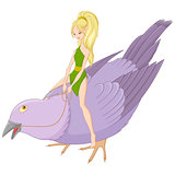 Fairy on bird. Vector illustration.