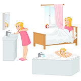 Girl doing her morning routine vector illustration