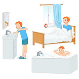 Boy doing his morning routine vector illustration