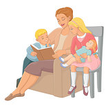 Mother reading a book to children. Vector illustration.