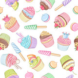 Colorful cupcake lollipop marshmallow seamless pattern. Vector i