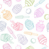 Colorful linear sweets and pastry seamless vector pattern.