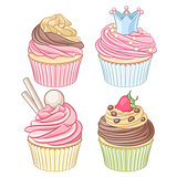 Vector set of colorful cupcakes isolated on white background.