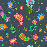 Bright floral seamless vector pattern with indian motives