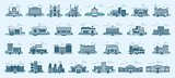 Vector set isolated icons architecture buildings linear style