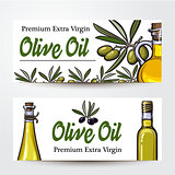 Banners with olive tree branches, oil bottles and place for text