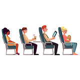 Various passengers, man and women in airplane seats