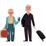 Two old, senior men with suitcases in airport
