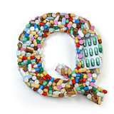 Letter Q. Set of alphabet of medicine pills, capsules, tablets a
