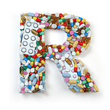 Letter R. Set of alphabet of medicine pills, capsules, tablets a